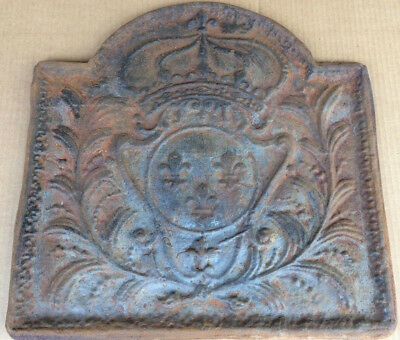 Antique Cast Iron French Royal Coat of Arms Fireplace insert, Fireback 19""