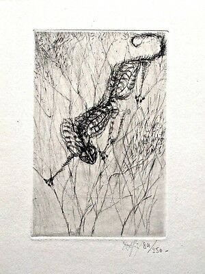 Signed Modernist Etching of Cat