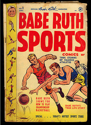 Babe Ruth Sports #1 First Issue Golden Age Harvey Baseball Comic 1949 GD