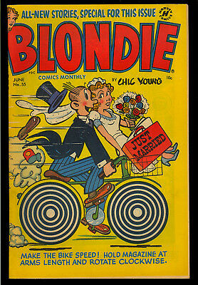 Blondie Comics Monthly #55 Nice Just Married Cover Golden Age Harvey 1953 FN