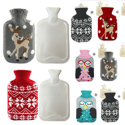 Christmas Eco Hot Water Bottle With Luxury Knitted Nordic Cover 500-1000ML