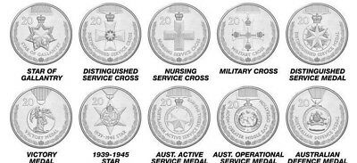 """2017 20 cent Legends of the ANZACS Medals of Honour """"10 Coin Collection """""""