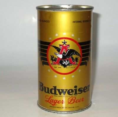 Very clean Non-OI Budweiser flat top beer can, St. Louis, MO, IRTP