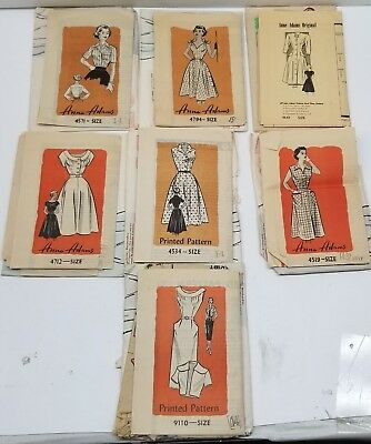 Lot of 7 Antique 1950s Anne Adams Dress Patterns Sizes 14 & 15