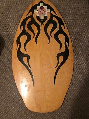 """RARE! Vintage Tribal Surf Wooden Skim Board NICE!  Aprox 41"""" x 21"""" Made in USA!"""