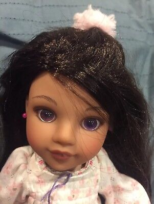 "Playmates Hearts for Hearts 14"" Doll Dark Brown To Violet Eyes 2010"