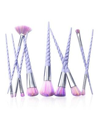 Zodaca [10 Pcs-Set] Professional Makeup Unicorn Brush Set with Spiral Handle & -