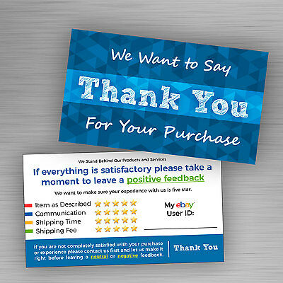 100 ebay Seller THANK YOU Cards 5 Star Feedback Rating Blue *Free Shipping*