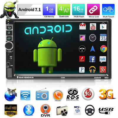 """Android 7.1 7"""" 1080P 4G WIFI 2DIN GPS Car Stereo MP5 Player RDS FM AM Radio+Map"""