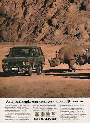 1990 Range Rover Thought Your Teenagers Were Rough On A Car Rhino Print Ad
