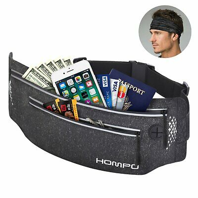 HOMPO Running Bum Bag Fanny Pack Travel Waist Bag Money Zip Belt Pouch Sports