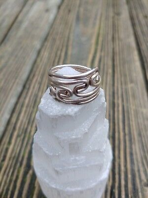 Vintage Sterling Silver Signed Wavy Design Ring 7 Very Unique Beautiful Nice