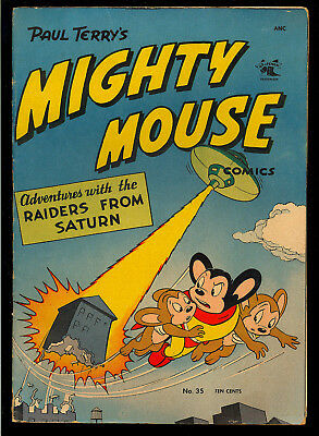 Mighty Mouse Comics #35 Nice Flying Saucer Cover Paul Terry's St. John 1952 VG-