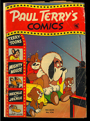 Paul Terry's Comics #104 Golden Age Mighty Mouse St. John Comic 1953 GD
