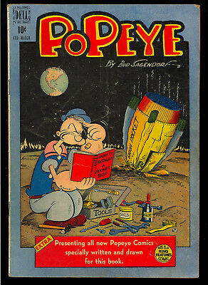Popeye #5 Nice Moon Rocket Cover Golden Age Dell Comic 1949 VG-