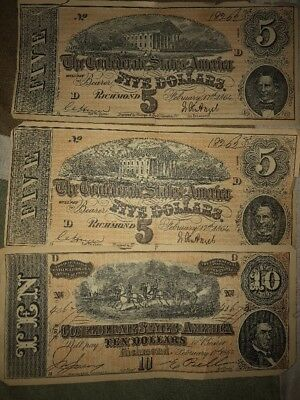 3Confederate Money Currency 1864 Richmond Ten $10 Dollar Note Bill And Two Of 5$