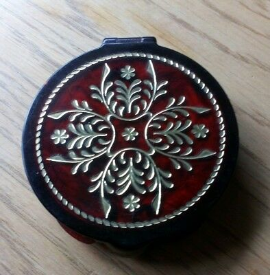 Tangee Compact Dark Red With Gold Design Vintage 1970s