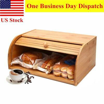 Bamboo Wood Bread Box Large Wooden Roll Top Food Storage Bin Container for Home