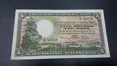 South Africa 5 Pounds Banknote 1941 High Grade
