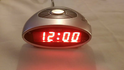 Constant Elliptical Digital Alarm Clock - Silver. Mains operated .