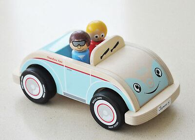 Indigo Jamm Charlies Car, Classic Wooden Toy Vehicle, Open Top Roof Passengers