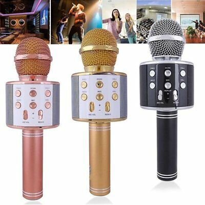 Wireless Bluetooth Karaoke KTV Sing Microphone Speaker Handheld w/Mic USB Player
