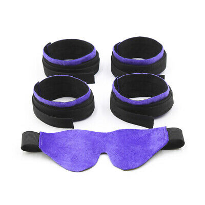 Dungeon Bed Wheel Chair Restraint Straps System Wrist Ankle Tied Cuffs Blindfold
