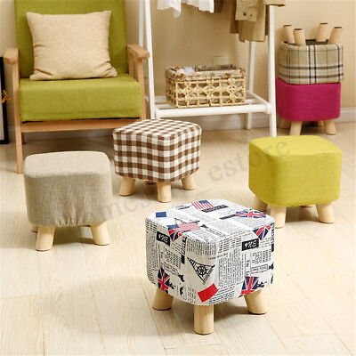 Round Square Pine Wooden Footstool Ottoman Pouffe Fabric Foot Rest Padded Seat