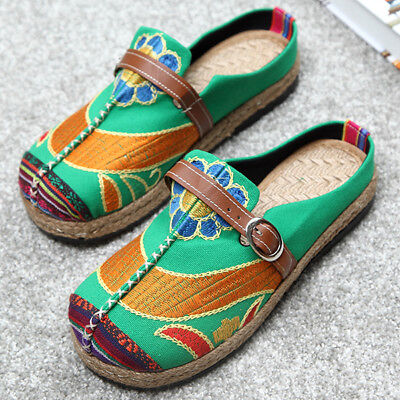 SOCOFY Women Folkways Backless Buckle Flats Shoes Colorful Embroidered Loafers