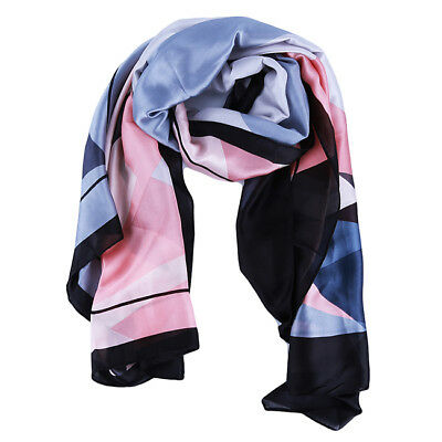Faux Real Silk Scarves For Women Beach Sunscreen Shawl 8C