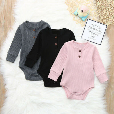 Infant Newborn Baby Boys Girls Striped Romper Jumpsuit Outfits Warm Tops Soft UK