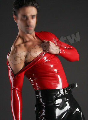 New!!!!100% Latex Rubber Gummi Shirt zipper at shoulder Suit Catsuit Red Fashion