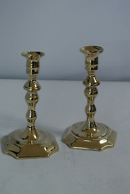 Pair early 18th century English brass candlesticks seamed circa 1730-35 C105