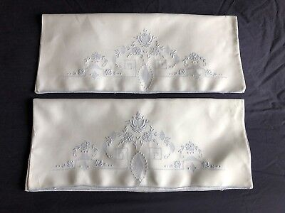 Superb Pair Vintage Irish Linen Madeira Work Hand Embroidered White Pillow Cases