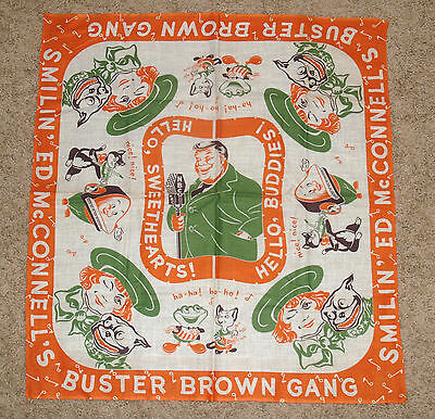 Vintage Cloth Handkerchief Scarf Smilin' Ed Mcconnell Buster Brown Gang Adv.