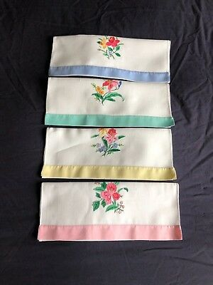 Set 4 Super Vintage White Linen Hand Embroidered & Appliqué Guest / Hand Towels