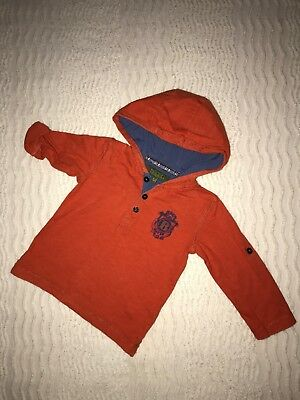 Baby Boys Designer Ted Baker Orange Hooded Top Age 12-18m Immaculate