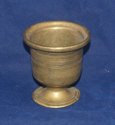 Antique Small Miniature Brass Or Bronze Mortar Banded Probably 18Th Century