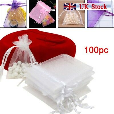 100pcs Organza Gift Voile Net Bags Jewellery Wedding Pouches Favour Party Candy
