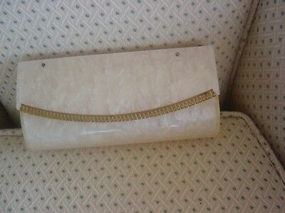 Vintage Wilardy Pearl White Lucite Evening Bag / Clutch