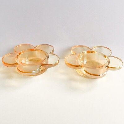 Pair Of Flower Amber Glass Tealight Candle Votive Holders Retro 1990s Kitsch