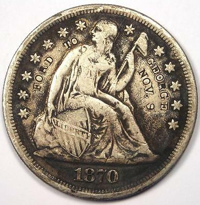 1870-CC Seated Liberty Silver Dollar $1 - VF Details - Rare Carson City Coin!