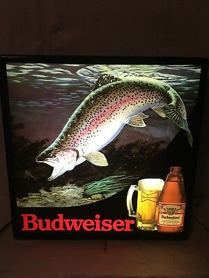Vintage Budweiser Beer Sign Rainbow Trout In Motion Fishing Lighted Bar Sign