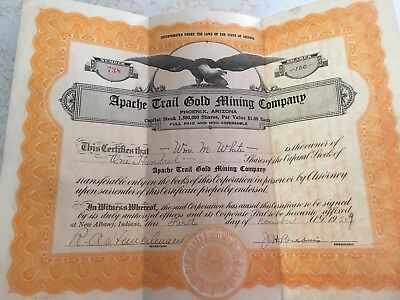 1929 Apache Trail Gold Mining Company Stock Certificate Signed Dated Antique