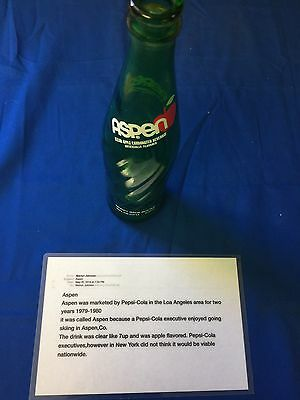 PEPSI COLA ASPEN APPLE SODA CROWN BOTTLE Circa 1979-1980   16 Oz.