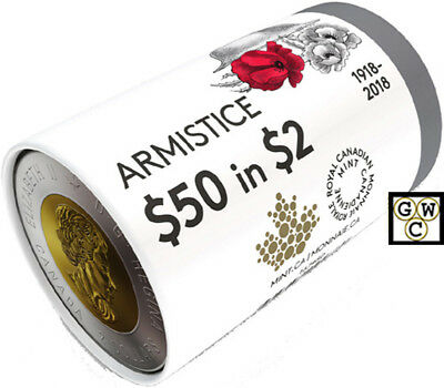 2018 Special Wrap Roll of 'Armistice' $2 Coins (18631)