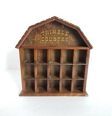 Vintage 1979 Wooden Wall Shelf 15 Thimble Country Display By Enesco