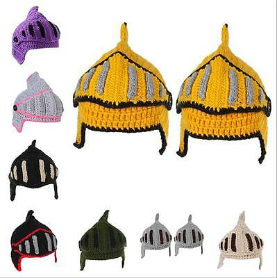 Mens Boys Knit ted Crochet Roman Knight Helmet Woolen Hat 8C