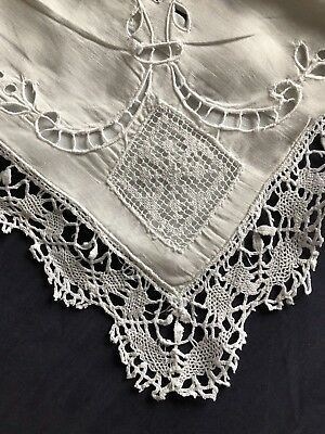 Vintage Linen Hand Embroidered White Pillow Case Reticella Lace Edging & Inserts