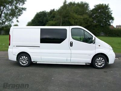 To Fit 14+ Renault Trafic LWB Polished Aluminium Side Step Running Boards Silver